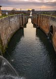 Channel of Castile. The hatches of the Channel of Castile in Fromista, province of Palencia, Spain stock photo