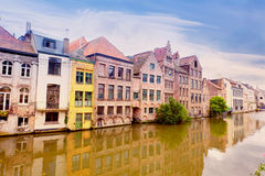 Channel in center of Ghent Royalty Free Stock Photos