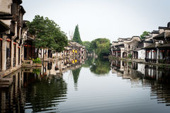 Channel in a Chinese watertown Stock Photo