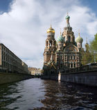 Channel and church. Kind on the channel, quay and church in Petersburg Royalty Free Stock Photos