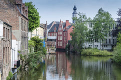 Channel in the city of Ghent stock photo