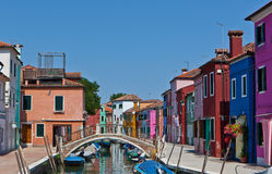 Channel with houses in Burano, Italy Royalty Free Stock Images