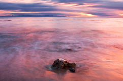 Channel Island Sunset. A time exposure sunset over the Santa Barbara channel in California Stock Images