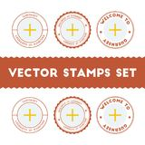 Channel Islander flag rubber stamps set. National flags grunge stamps. Country round badges collection Stock Photography