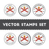 Channel Islander flag rubber stamps set. National flags grunge stamps. Country round badges collection Stock Image