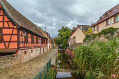 Channel in Kaysersberg, Alsace, France Royalty Free Stock Photo