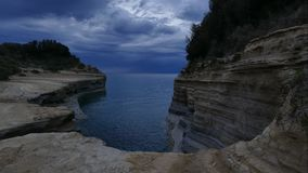 The Channel of Love, Canal d`amour in Sidari. Corfu Island, Greece. Time lapse