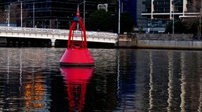 Channel marker Yarra River. Melbourne. Stock Photos