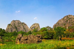 Channel mountain and group of limestone mountain Royalty Free Stock Photography