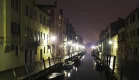 Channel night in Venice after the rain. Channel in Venice at night after rain royalty free stock photo