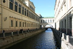 Channel. Pedestrian tourist walk on the famous places of St. Petersburg Stock Photo