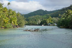 Channel stone fish trap Huahine French Polynesia Stock Photo