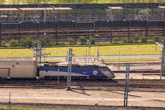 Channel Tunnel train at Folkestone, UK. Channel Tunnel train arriving at the terminal at Folkestone, UK Stock Photography