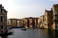 Channel in Venice (Venezia, Vinegia,Venexia, Venetiae). Venice has beautiful cityscape, uniqueness, and rich musical and artistic cultural heritage. In the 19th royalty free stock images