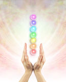 Channeling Chakra Healing Energy Stock Photo
