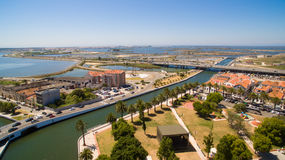 Channels of Aveiro, Portugal top view aerial. View Royalty Free Stock Photography