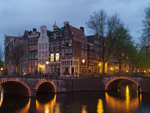 Channels and bridgres of Amsterdam in night, Netherlands Stock Photography