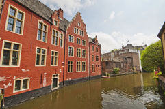 At the channels of Ghent, Belgium Stock Photos