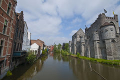 At the Channels of Ghent. Gravensteen Royalty Free Stock Photo