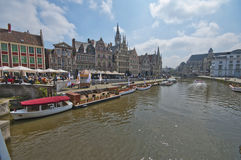 At the Channels of Ghent. On a sunny day. Belgium royalty free stock photos