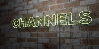 CHANNELS - Glowing Neon Sign on stonework wall - 3D rendered royalty free stock illustration Royalty Free Stock Images