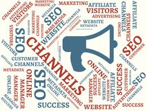 CHANNELS - image with words associated with the topic ONLINE MARKETING, word, image, illustration Stock Images