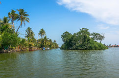 Channels in the Indian Venice of Alleppey. Stock Photo