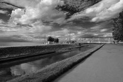 Channels of Kronstadt. St. Petersburg. Russia. Black and white view of the city. Shipyards royalty free stock photos