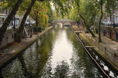 Channels of the old town. A characteristic feature of the city - Bunk channels connected by numerous bridges with adjacent houses royalty free stock image