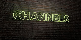 CHANNELS -Realistic Neon Sign on Brick Wall background - 3D rendered royalty free stock image Stock Images