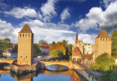 Channels Strasbourg. Old Town. Bridges and towers Stock Photos