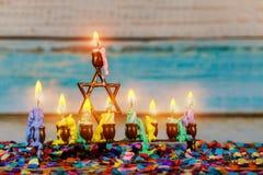 Chanukah Menorah Chanukiah Jewish holiday background. Channukah channukiah menorah candles. Jewish holiday background stock images