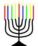 Channukah Menorah. A Channukah Menorah with 9 colourful candles burning vector illustration