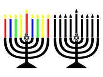 channukah menorahs 皇族释放例证