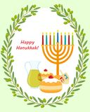 Chanoeka, hanukkah menorah en sufganiyot stock illustratie