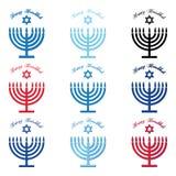 Chanoeka Typografisch Vectorontwerp - Gelukkige Chanoekareeks Joodse vakantie Chanoeka menorah vector illustratie