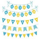 Chanoeka vastgestelde slingers, linten Chanoeka voor een partij wordt geplaatst die Royalty-vrije Stock Foto