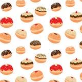 Chanoeka vectorpatroon met smakelijke doughnuts vector illustratie