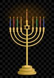 Chanoekakandelaar hanukkah Joodse vakantiekaarsen Joods festival van licht royalty-vrije illustratie