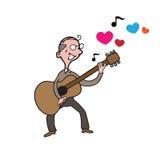 Chanson d'amour de guitare de vieil homme de personnes Photographie stock libre de droits