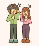 Chanson de écoute d'homme et de femme ensemble, amitié illustration de vecteur