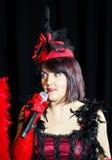 Chanson de chant de Christel Kern Portrait d'actrice française scène Image libre de droits