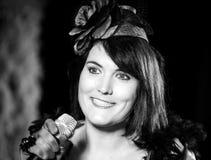 Chanson de chant de Christel Kern Portrait d'actrice française scène Photo stock