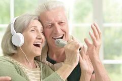 Chansons supérieures de chant de couples Image libre de droits