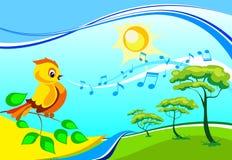 Chant birdy sur un branchement Photographie stock libre de droits