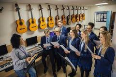 Chant dans la leçon de musique Image libre de droits