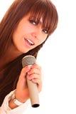 Chant de jeune femme d'isolement Images stock