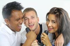 Chant de trois amis Photographie stock libre de droits