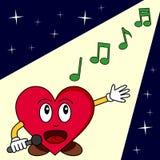 Chant drôle de coeur de dessin animé Images libres de droits