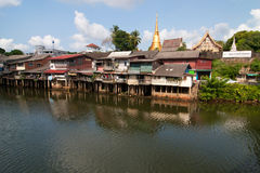 chantaburi在老河附近的社区房子 免版税库存照片